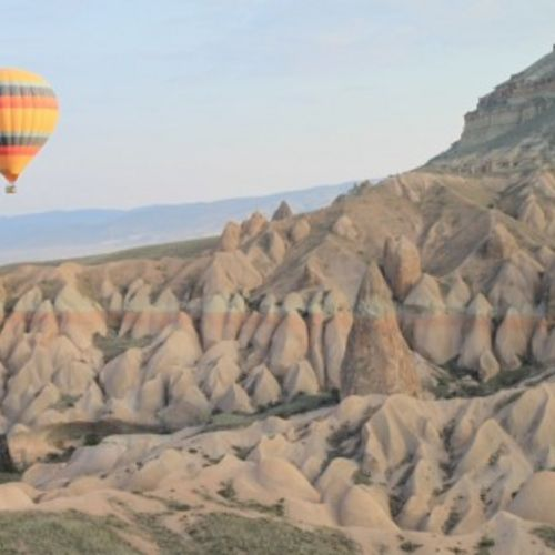 Ballooning over the red valley in cappadocia